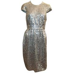 Naeem Khan Silver Silk & Mesh Sequin Short Sleeve Dress w/ Cinched Waist - 8