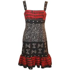 Oscar de la Renta Red, Black, & Ivory Cotton Sleeveless Tribal Print Dress - 8