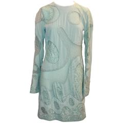 Emilio Pucci Aqua Silk Chiffon Long Sleeve Dress with Sheer Cutouts - 10