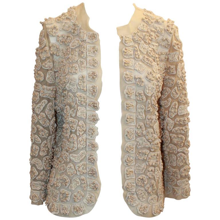 Oscar de la Renta Ivory Cotton Blend Mesh Jacket w/ Heavy Patched Embroidery - 6