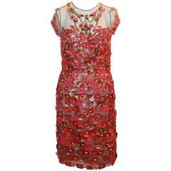 Oscar de la Renta Red & Gold Tulle, Mesh, & Applique Dress - 8