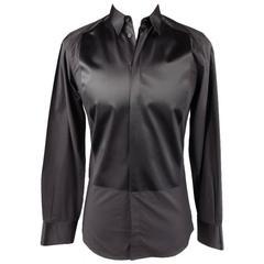 DOLCE & GABBANA Size S Black Cotton / Silk Long Sleeve Tuxedo Shirt