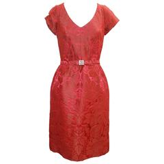 Oscar de la Renta Red Brocade Short Sleeve Dress  with Rhinestone Belt
