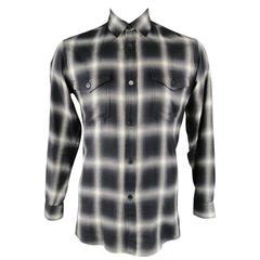 SAINT LAURENT Size M Charcoal Marshall Plaid Cotton Button Down Shirt