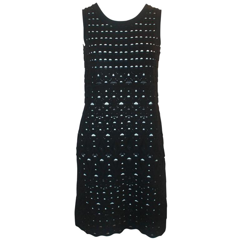 Chanel Black Crochet Sleeveless Shift Dress with White Underlay - 38 For Sale