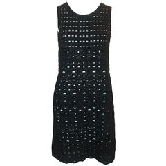 Chanel Black Crochet Sleeveless Shift Dress with White Underlay - 38