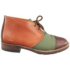 JUNYA WATANABE MAN Size 9 Tan Leather Green Canvas Brown Toe Color Block Boots