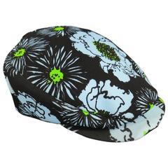 PRADA Size S Light Blue & Green Floral Print Nylon Spring 2012 Golf Hat
