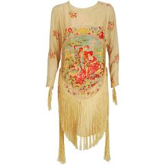 1920's Sherr Brothers Couture Novelty Scenic Print Silk Fringe Flapper Dress