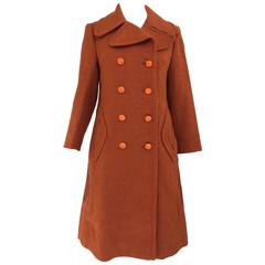 70s Pierre Cardin burnt orange wool pea coat