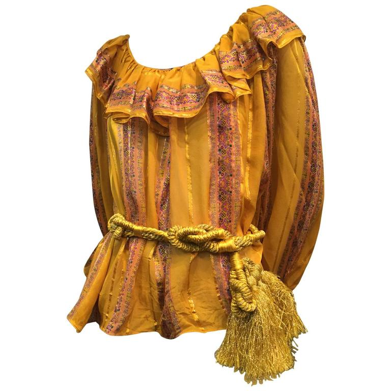 1970s Peasant Blouse in Luxurious Mustard Floral and Lamé Stripe w Belt For Sale