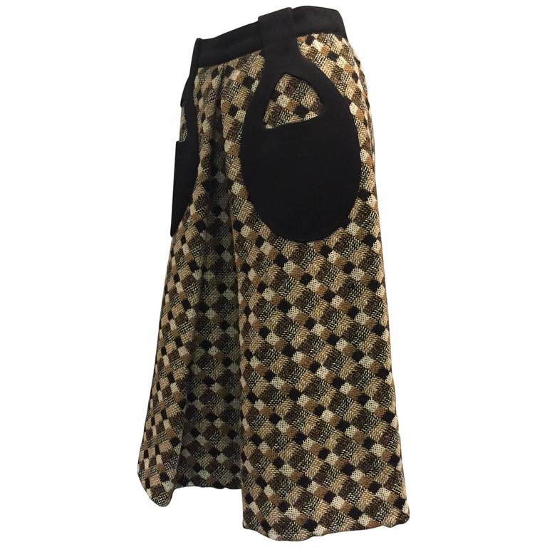 1960s Pierre Cardin Black Brown and White Tweed A-Line Skirt w Teardrop Pockets 1
