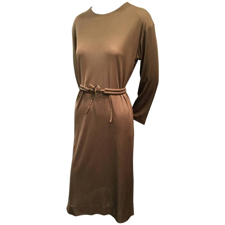 1970s Emilio Pucci Mocha Brown Silk Jersey Shift Dress with Matching Belt