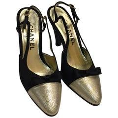 1980s Chanel Peau de Soi Gold Lamé Cap-Toe Slingback Pumps - Never Worn