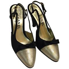 1980s Chanel Peau de Soi Gold Lamé Cap-Toe Slingback Pumps - Never Worn