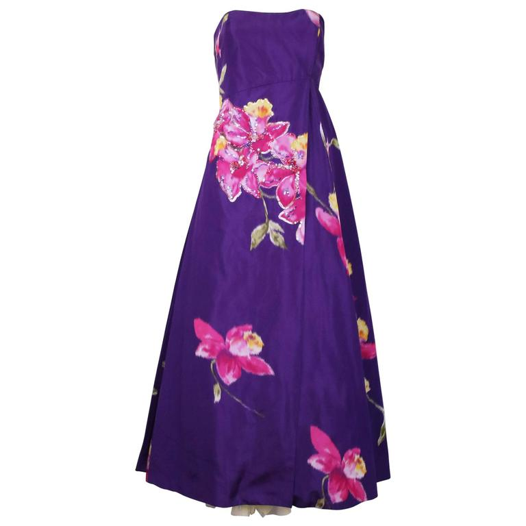 Christian Lacroix Purple Floral Silk Sequin Applique Strapless Evening Gown  1