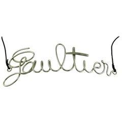 Jean Paul Gaultier Cursive Large Logo Metal Chrome Belt