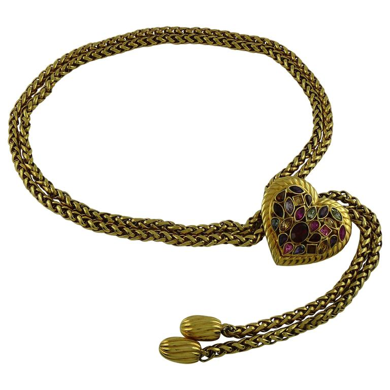 0b175570bc6 Yves Saint Laurent YSL Vintage Rare Jewelled Heart Chain Belt For Sale