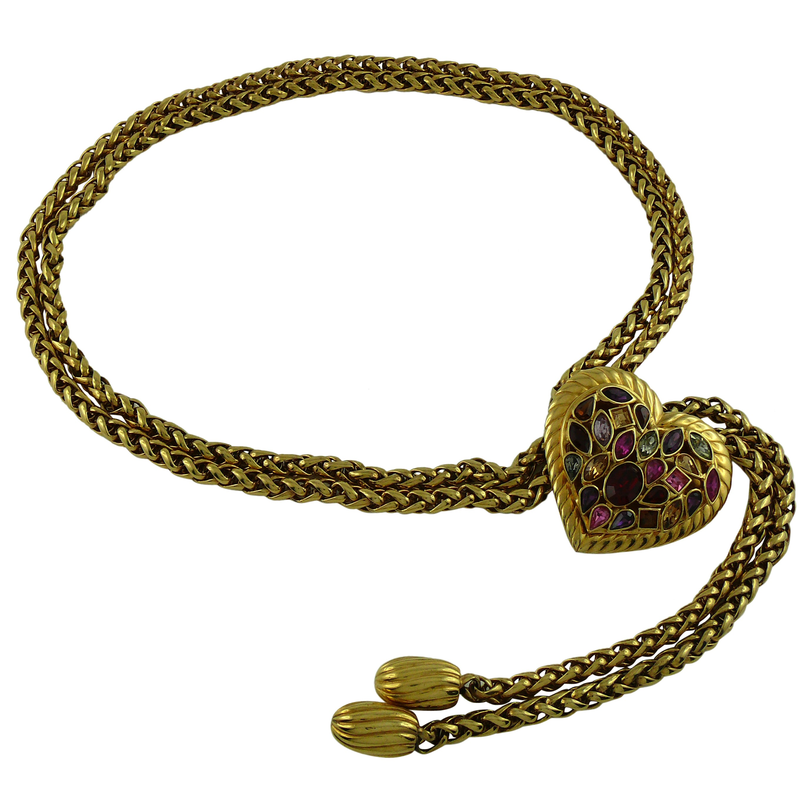 50c8e6aa397 Yves Saint Laurent YSL Vintage Rare Jewelled Heart Chain Belt For Sale at  1stdibs