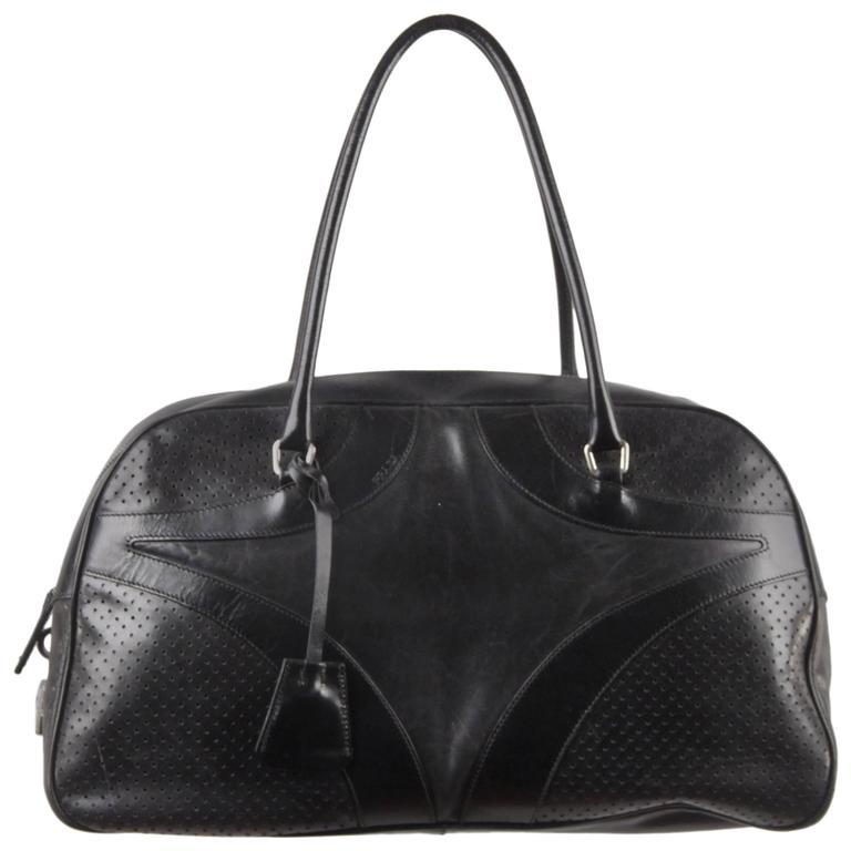 Prada Black Leather Bowling Bag Satchel Bowler Gm Purse Handbag For
