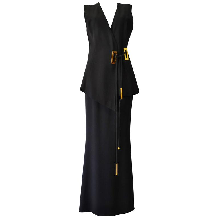 Exceptional Mod Angelo Mozzillo Gold Hardware Vest and Maxi Skirt Suit