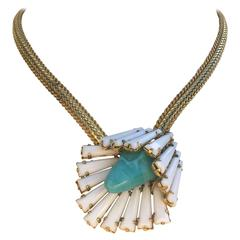 Dynamic Unsigned Schreiner ruffle style summer pendant necklace 1960s