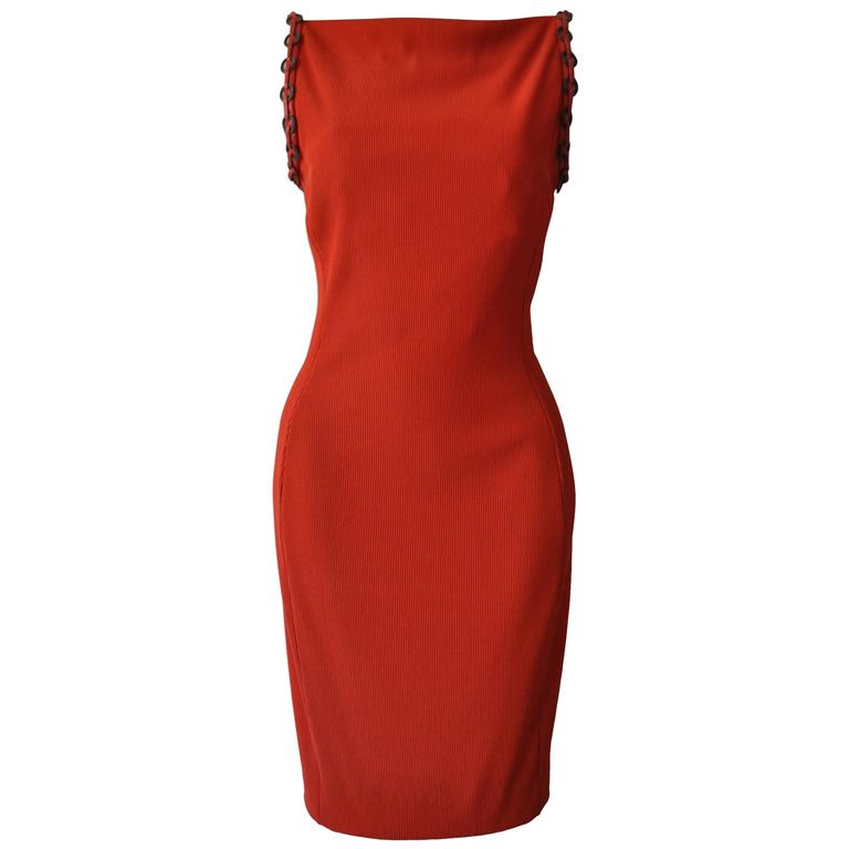 Iconic Gianni Versace Couture Red Siren Bodycon Dress