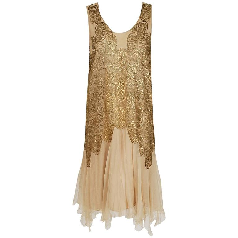 1925 Elspeth Champcommunal Haute-Couture Metallic Gold Lame Silk Flapper Dress For Sale