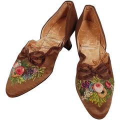 1910's Laird Schober Couture Floral Embroidered Applique Rosettes Silk Shoes