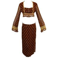 S/S 1994 Runway Dolce & Gabbana Gypsy Fringe Crop Top & Skirt Ensemble Suit