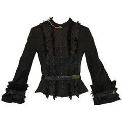 New A/W 2002 Alexander McQueen Met Museum Savage Beauty Black Fringe Jacket Belt