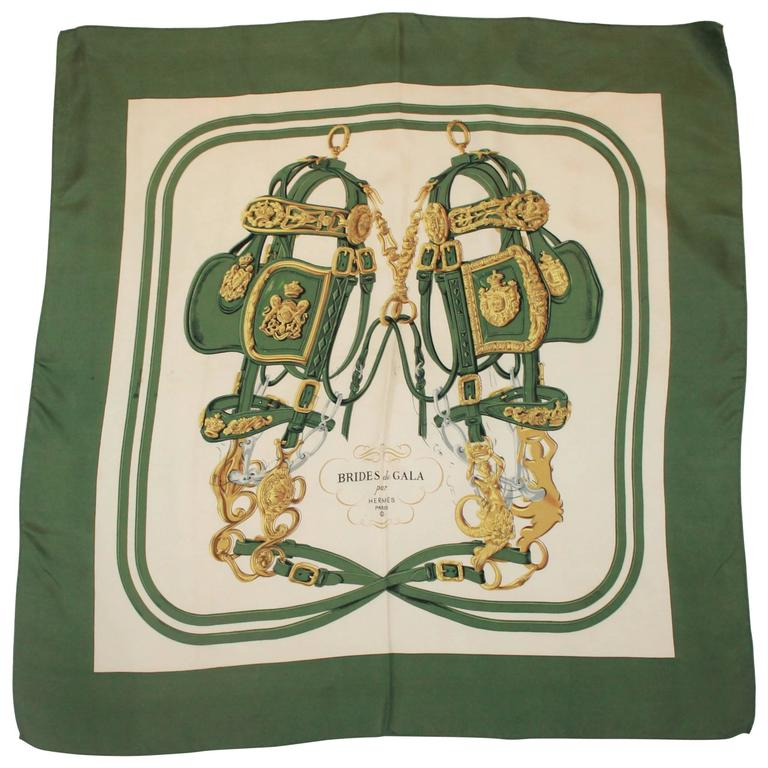 "Hermes Green, Gold, & Ivory ""Brides de Gala"" Silk Scarf For Sale"