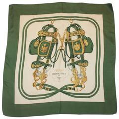 "Hermes Green, Gold, & Ivory ""Brides de Gala"" Silk Scarf"