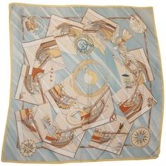 "Hermes Pastel Blue ""Face an Large"" Atlas Theme Silk Scarf"