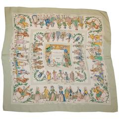 "Hermes Mint & White ""Costumes Civils Actuels"" Cultural Theme Silk Scarf"
