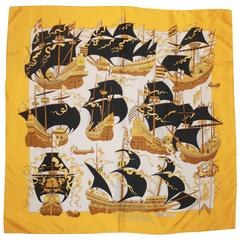 "Hermes Gold & Ivory ""Armada"" Ship Theme Silk Scarf"