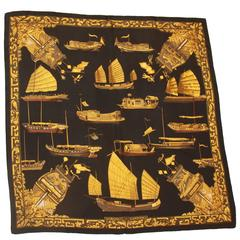 "Hermes Black & Gold ""Jonques et Sampans"" Silk Ship Theme Scarf"