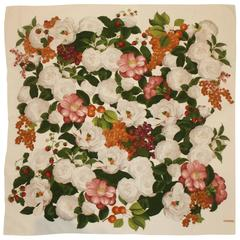 Chanel Ivory & Multi Colored Floral Silk Chiffon Shawl w/ Pink Camellia & Grapes