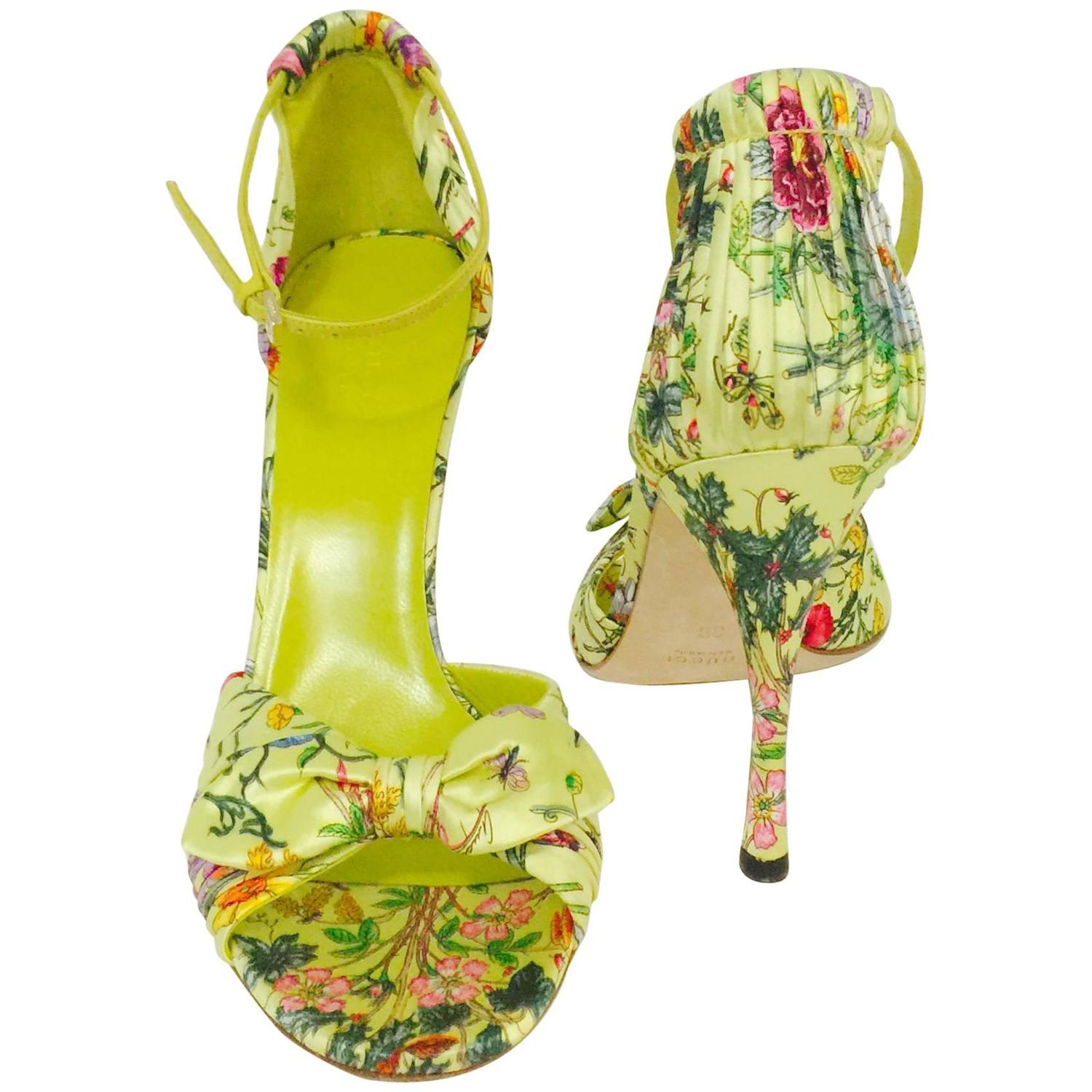 30c523bb0 Gucci Green Satin Floral Print High Heel Sandals Above Excellent at 1stdibs