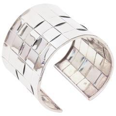 Sterling Silver Basket Weave Cuff Bracelet