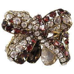 C & D Gold Metal Red & White Rhinestone Crystal Bow Cuff Bracelet