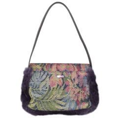 ETRO Purple Floral Beaded Tapestry Fabric & Fur Crocodile Strap Handbag