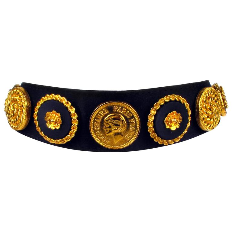 Vintage Rare Chanel Black Velvet & Leather Choker With Gold Tone Medallions For Sale