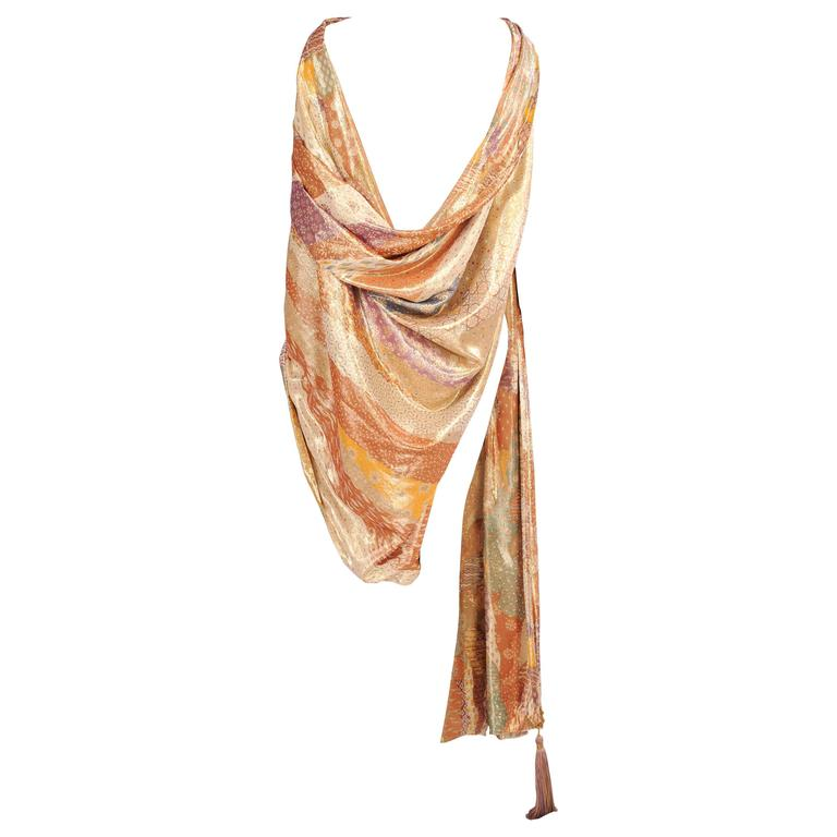Emanuel Ungaro Haute Couture Reversible Gold Lame Shawl