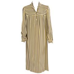 Guy Laroche 1970's Striped Silk Dress