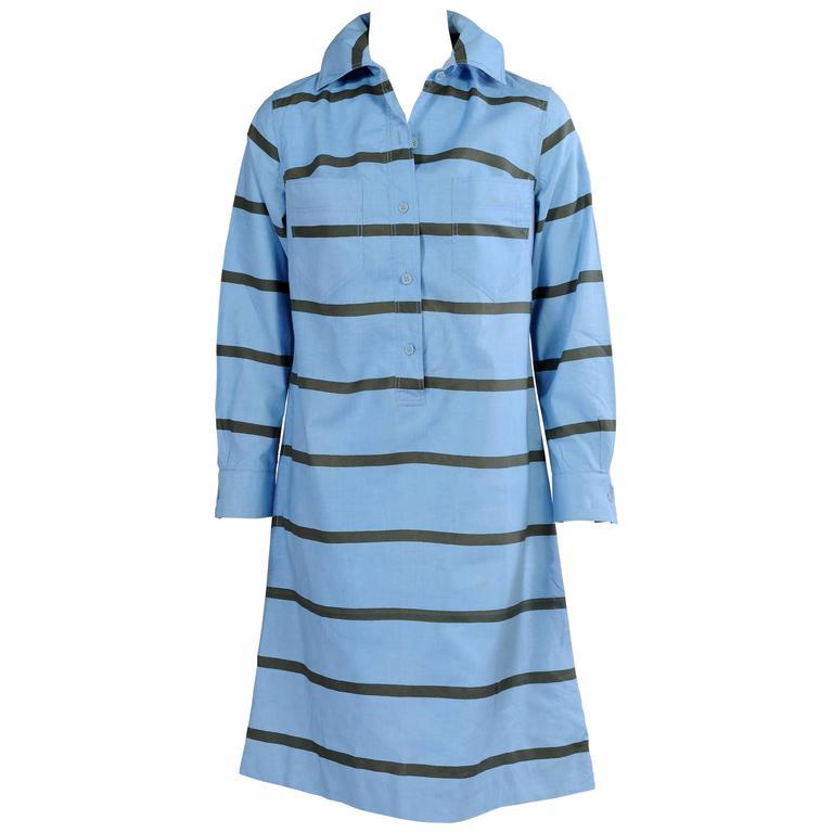 Marimekko for Design Research Olive Green Striped Blue Cotton Dress