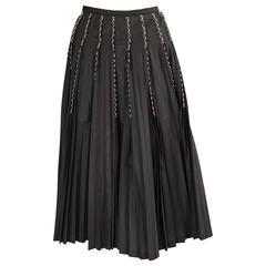 Yohji Yamamoto Embroidred Pleated Wrap Skirt