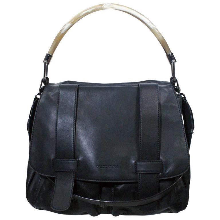 Giorgio Armani Black Leather Flap Over Bag For Sale at 1stdibs 540cc14d39d86