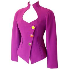 Christian Lacroix Sculptural Magenta Wool Jacket with Colorful Buttons Sz 42