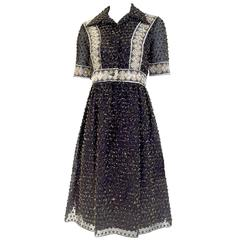 1970s Oscar De La Renta black and gold metallic  dress